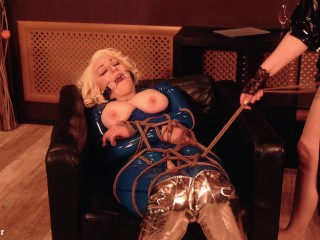 Certain FemDom Lesbian Rope Bondage Procedure, MILF Arya Grander in latex rubber with gag