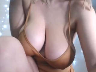 younger busty blonde displays her vibrator in pussy