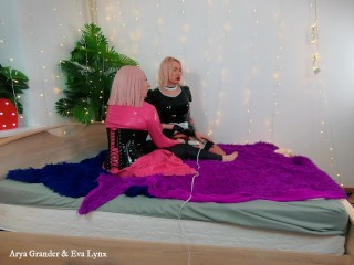 Behind the scenes, house video of FemDom Amusing with Mistress Arya Grander and Shemale Eva Lynx.