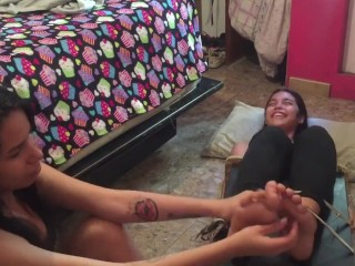 Latina youngster chairtied and toes tickled