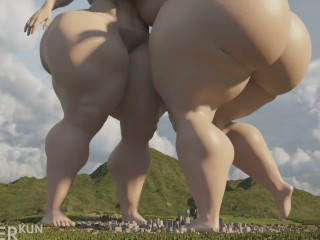 Giantess enlargement within the town