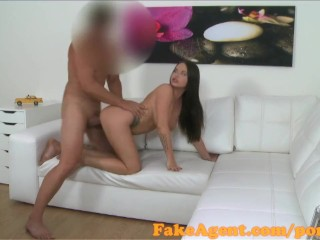 FakeAgent American babe with pretty herbal knockers fucks in casting