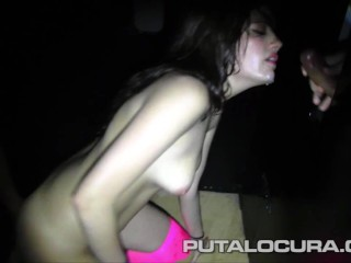 spanish brunette takes 20 cumshots on the gloryhole
