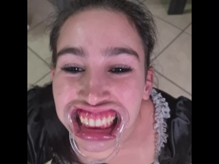 French maid tries to drink her personal piss thru lip retractor   humorous fail