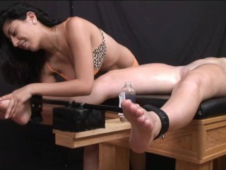 Lovely woman bare tied and tickled