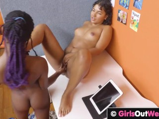 GirlsOutWest – Darkish skinned hotties lick every others furry pussy