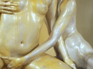 AB045 Gold and silver powder trans lesbian stroking and squirt