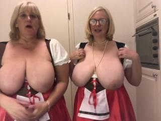 Oktoberfest – 2 busty topless blondes