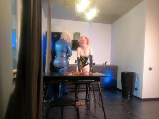 Strapon lesbian and latex rubber house amusing