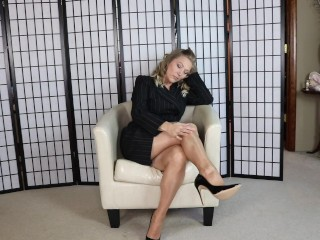 Tan Nylons in Industry apparel MILF Attractive Legs and Toes onlyTease Leg Display to your Foot Fetish Sequence