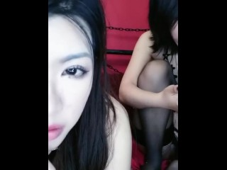 Chinese language Sluts Duo 夜翼S和骚猫M  Lesbian Motion 4