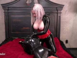 Sizzling slowly petting latex love, lesbian couple having rubber amusing loosen up