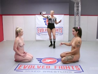 Pass over Demeanor Vs Kay Carter In Lesbian Wrestling Battle With Scissoring and Excellent 69 Pussy Consuming