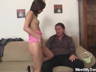 Petite lady will get her younger pussy licked through previous dad