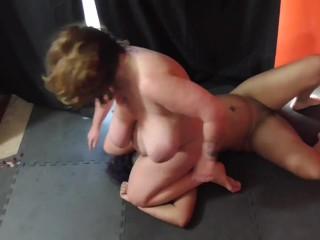 White BBW wrestler dominates facesits and fucks tricky black girl