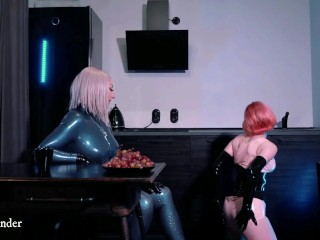 latex lesbian pussy play and petting at house in rubber