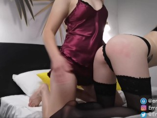 Spanked her female friend in black stockings with a belt