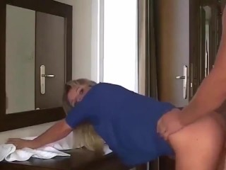 Tremendous Sizzling Blonde MILF tough desk intercourse
