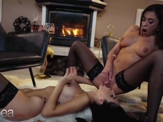 Lesbea Surprising euro babes Alyssa Bounty and Sabrisse intimate lesbian pussy licking
