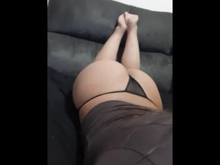 Namorada se exibindo de undies preta