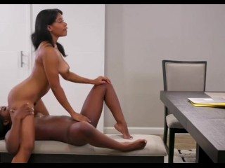 African and ebony younger lesbians barefoot