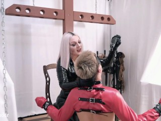 Face Fuck and Face Sitting. PVC Mistress with German Grimy Communicate on English and her straitjacket toy