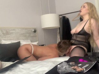 Two busty babes checking out intercourse toys