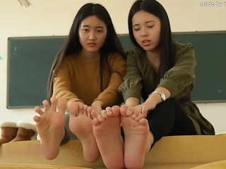 two chinese language woman ft in nylon