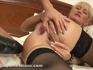 Rocky stretches Anita's asshole with a monster strapon