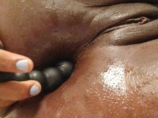 Lubed Up Amateur Ebony Fucks Her Ass With Anal Beads: I Cannot Forestall!