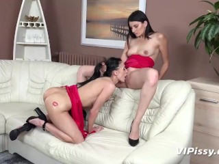 Sizzling Brunette Lesbians Love To Piss In combination