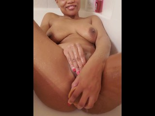 Youngster ebony milf bbw fucking squirting with my two toys within the bathe
